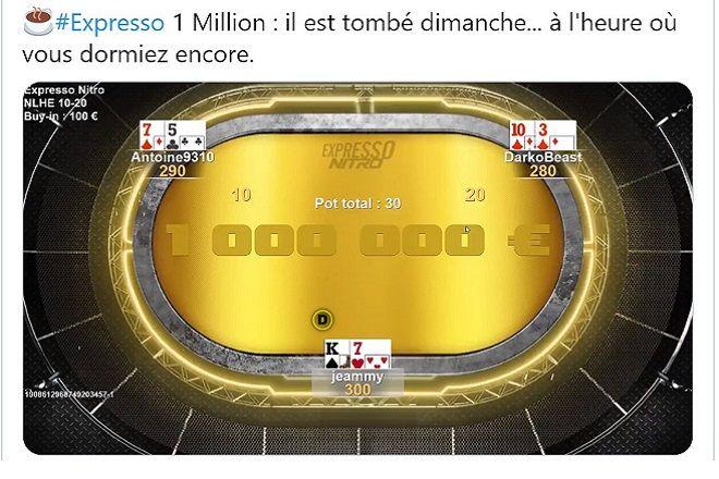 Winamax Poker : expresso à 1 million d'euros
